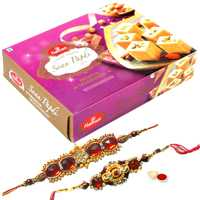 2 Ethnic Rakhi with 250 gm Haldiram Soan Papdi