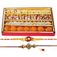 2 Ethnic Rakhi with 250 gm Haldiram Assorted Sweets<br><font color=#0000FF>Free Delivery in USA</font>