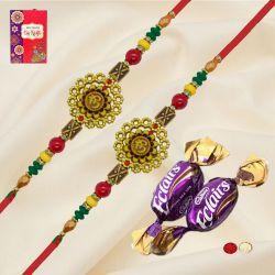 Gorgeous Pair of Om Rakhi with Chocolates, Roli Chawal Tika n Card