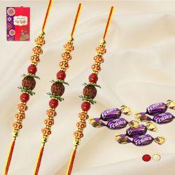 Classy 3 Rudraksha Rakhi Set with Chocolates, Roli, Chawal n Card