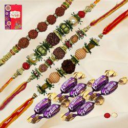 Classic Set of 4 Rudraksha Rakhis with 8 Chocolates