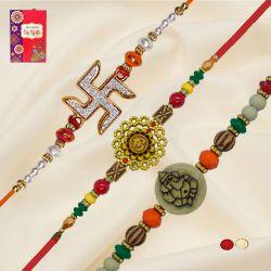 Auspicious Trio of OM, Swastik N Ganesh Rakhi