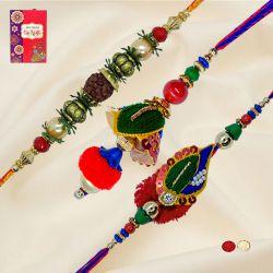 Classy Set of Bhaiya Bhabhi Rakhi n Rudraksha Rakhi