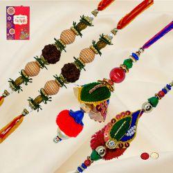 Classy Set of Bhaiya Bhabhi Rakhi n Rudraksha Rakhi Pair