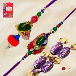 Stunning Pair of Bhaiya Bhabhi Rakhi with 4 Chocolates