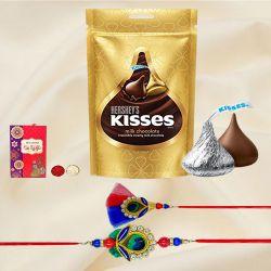 Attractive Bhaiya Bhabhi Rakhi with Hersheys Chocolates