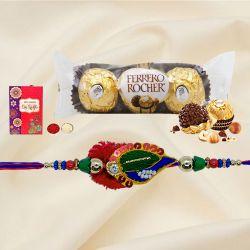 Exquisite Rakhi with 3Pc Ferrero Rocher, Roli Tika N Card