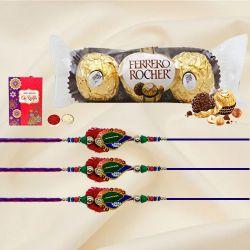 Superb Set of 3 Rakhis with 3pc Ferrero Rocher, Roli Tika n Card