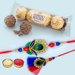 Classy Bhaiya Bhabhi Rakhi with 3pc Ferrero Rocher Pack