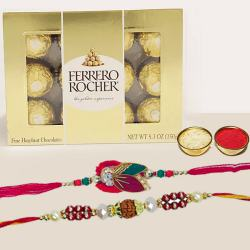 Elegant Pair of Rakhi with 12pc Ferrero Rocher Pack