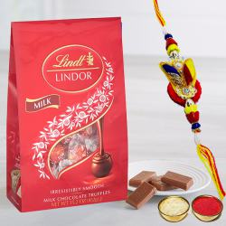 Appealing Gift of Rakhi with Lindt Chocolates