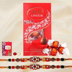 Charming Pair of Rakhi with Lindt Chocolates, Free Roli Tika n Card