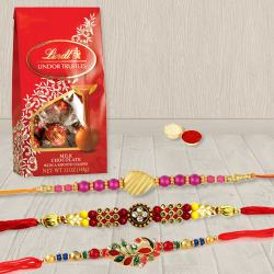 Attractive Set of 3 Rakhis with Lindt Chocolates