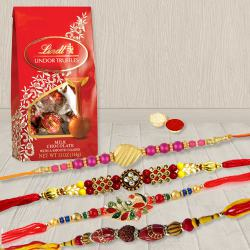 Classic Set of 4 Rakhi with Lindt Chocolates, Roli Tika N Card