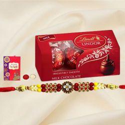 Stylish Gift of Rakhi with Lindt Chocolates