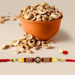 Graceful Rakhi with Crunchy Cashews, Roli Tika n Card