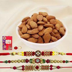 Charming Set of 3 Rakhis with Crunchy Almonds, Roli Tika n Card