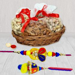 Attractive Bhaiya Bhabhi Rakhi with Mixed Dry Fruits Basket