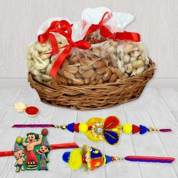 Attractive Family Set Rakhi with Mixed Dry Fruits Basket