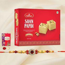 Fancy Rakhi N Haldiram Soan Papdi Gift Combo
