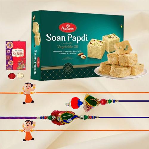 Appealing Family Set Rakhi with Haldiram Soan Papdi