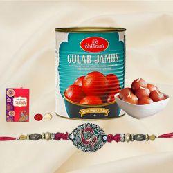 Trendsetting Rakhi with Gulab Jamun n Roli, Chawal n Card