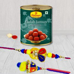 Superb Bhaiya Bhabhi Rakhi Set with Haldiram Gulab Jamun