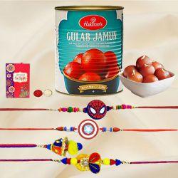 Classy Family Rakhi Set with Gulab Jamun from Haldiram