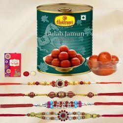 Graceful Set of 4 Rakhi with Haldiram Gulab Jamun