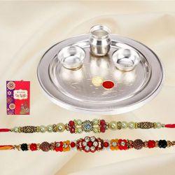 Remarkable Set of 2 Rakhi with Pooja Thali, Roli Tika n Card