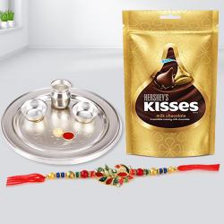 Lovely Rakhi with Puja Thali N Hersheys Chocolates