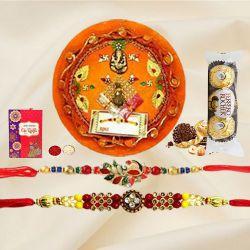 Classic Pair of Rakhi with Ferrero Rocher n Rakhi Thali