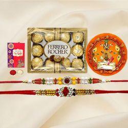 Decorative Puja Thali with Rakhi Pair N 12pc Ferrero Rocher