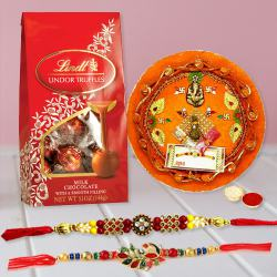 Pious Puja Thali with Rakhi Pair N Lindt Chocolates