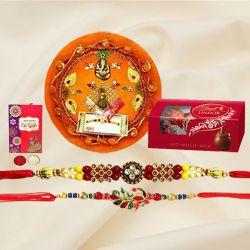 Elegant Puja Thali with a Pair of Rakhi N Lindt Chocolates