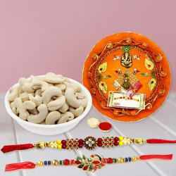 Admirable Gift of Two Rakhis with Cashews n Puja Thali