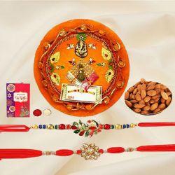 Trendy Pair of Rakhi with Almonds n Puja Thali