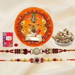 Classic Set of 2 Rakhi with Pistachio n Puja Thali