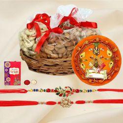 Amazing Set of 2 Rakhi with Dry Fruits n Puja Thali