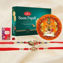 Decorative Thali with Set of 2 Rakhi N Haldiram Soan Papadi