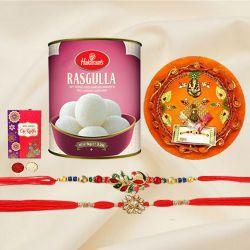Exclusive Rakhi Set of 2 with Haldiram Rasgulla n Puja Thali