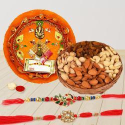 Designer Rakhi Pair with Dry Fruits n Puja Thali