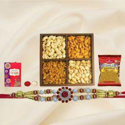 Delightful Gift of Rakhi with Dry Fruits n Bhujia