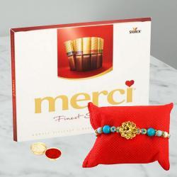 Dashing Rakhi and Merci Chocolates Gift Combo