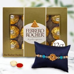 Delightful Gift of Veera Rakhi N 12pc Ferrero Rocher