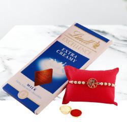 Fancy Rakhi N Lindt Milk Chocolate Gift Pack