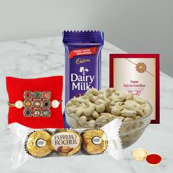 Beautiful Rakhi Gift with Sweets N Nuts