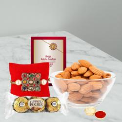 Fancy Gift of Rakhi with Almonds and Ferrero Rocher