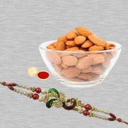 Charming Gift of Rakhi with Nutty Almonds