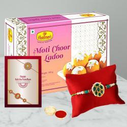 Fancy Rakhi with Tasty Boondi Laddoo N Free Roli Chawal
